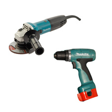 Set Makita 9555 NB, 115 mm, 840W + 6280 D, 10mm, 14,4 V - 2,0 Ah (2 ks.)